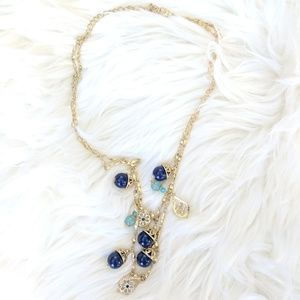 Two Chain Gold Bauble Charm Necklace